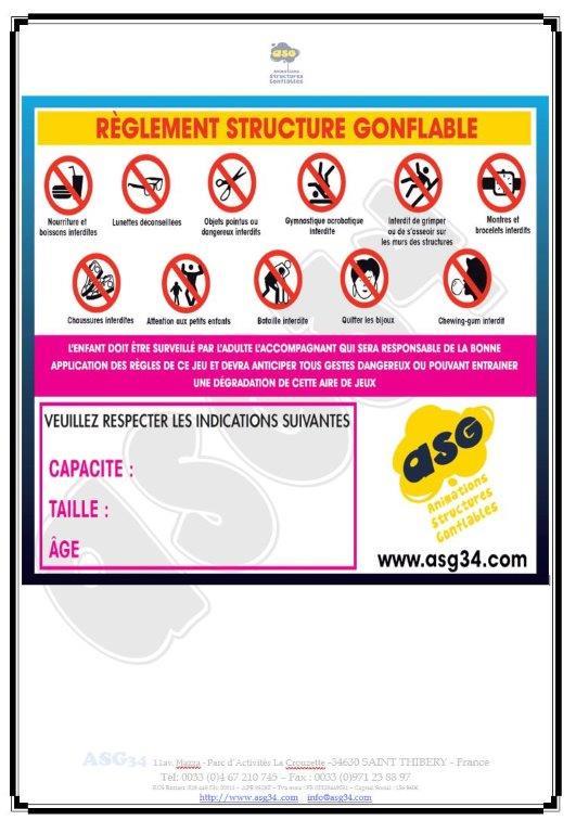 Réglement d'utilisation de structure gonflable