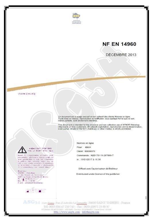 AFNOR NF EN 14960