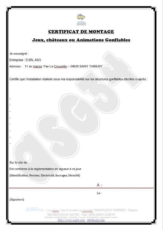 Certificat de montage de jeu gonflable
